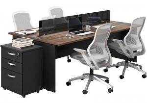 Plataforma de trabalho para escritório com 4 lugares, tampo 25mm | Linha M25