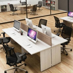 Plataforma de trabalho com mesa componível 4 Lugares , tampo 25mm | Linha M25